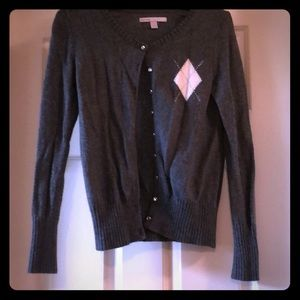 Sweaters - Charcoal cardigan with rhinestone & argyle detail
